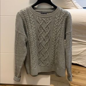 Gray cable knit sweater. SO comfy!